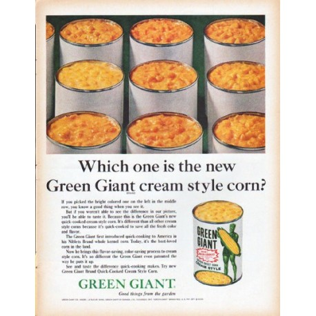 "1961 Green Giant Ad ""cream style corn"""