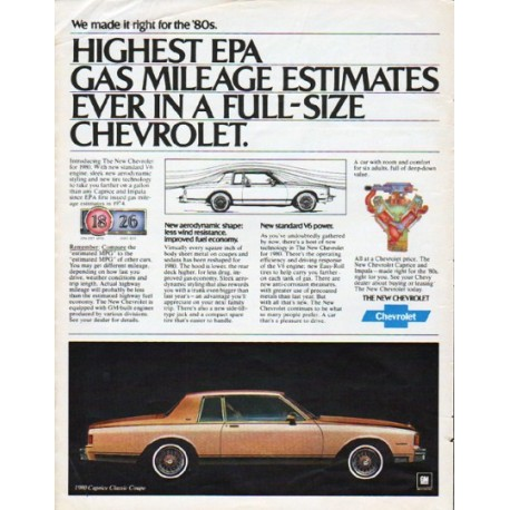 "1980 Chevrolet Ad ""Highest EPA"""