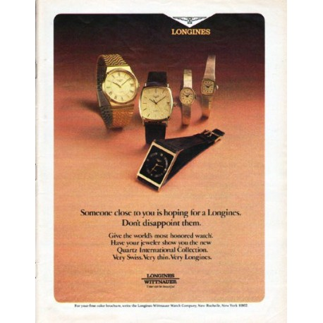 "1979 Longines-Wittnauer Watch Ad ""Someone close"""