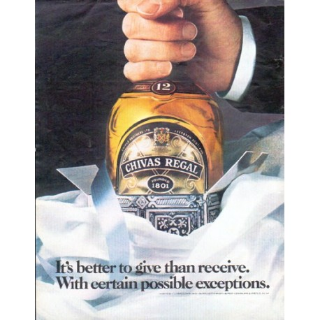 "1979 Chivas Regal Ad ""It's better to give than receive."""