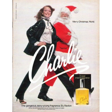 """1979 Charlie Perfume Ad """"Merry Christmas, World."""""""