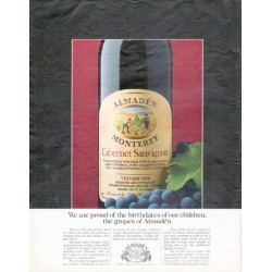 "1979 Almaden Wine Ad ""proud of the birthdates"""