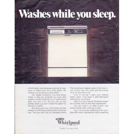 "1979 Whirlpool Ad ""Washes while you sleep"""