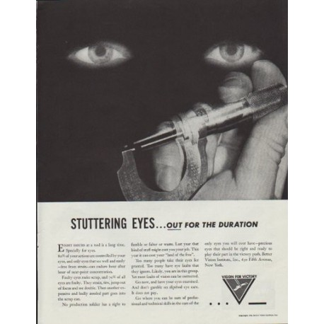 "1942 Better Vision Institute Ad ""Stuttering Eyes ... out for the duration"""