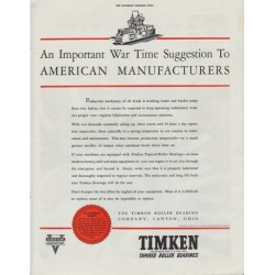 "1942 Timken Ad ""An Important War Time Suggestion"""