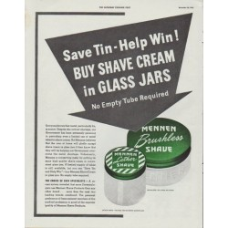 "1942 Mennen Ad ""Save Tin - Help Win!"""