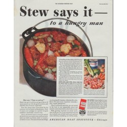 "1942 American Meat Institute Ad ""Stew says it -- to a hungry man"""