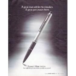 "1979 Eraser Mate Ad ""A great man"""