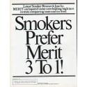 """1979 Merit Cigarettes Ad """"Smokers Prefer Merit"""""""