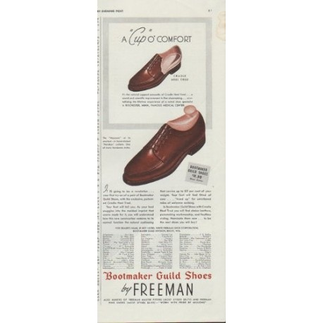 "1942 Bootmaker Guild Shoes Ad ""A ""Cup"" o' Comfort"""