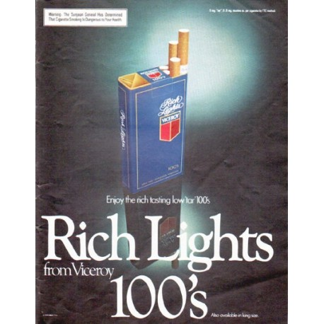 """1979 Viceroy Cigarettes Ad """"Rich Lights"""""""