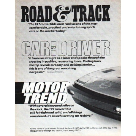 """1980 Triumph TR7 Ad """"The Convertible TR7"""""""