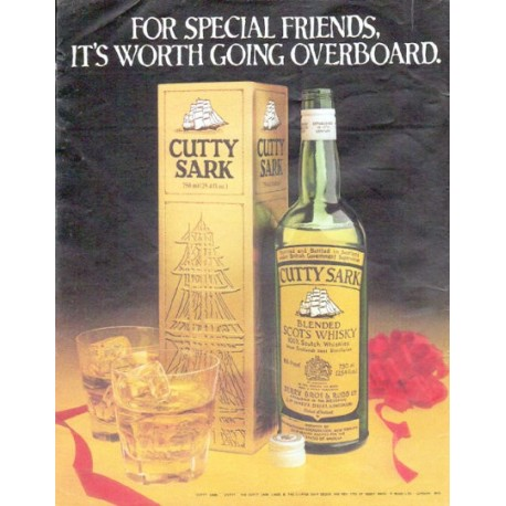 """1979 Cutty Sark Whisky Ad """"For Special Friends"""""""