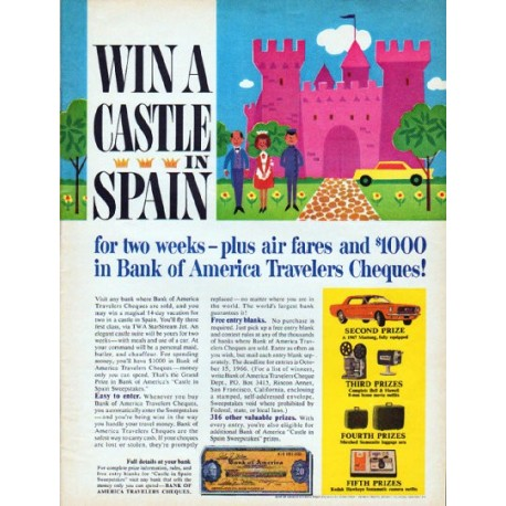 "1966 Bank of America Travelers Cheques Ad ""Win A Castle"""