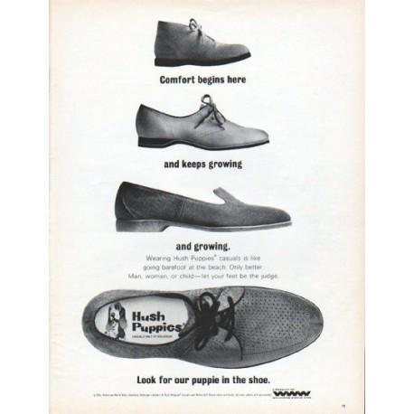 "1966 Hush Puppies Ad ""Comfort begins here"""