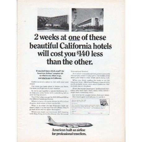 """1966 American Airlines Ad """"2 weeks"""""""