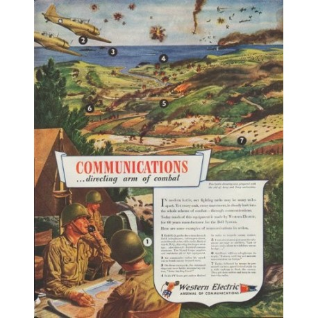 """1942 Western Electric Ad """"Communications ... directing arm of combat"""""""