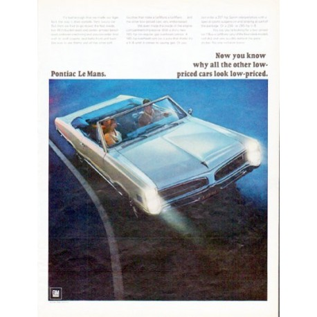 """1966 Pontiac Le Mans Ad """"Now you know"""" ... model year 1966"""