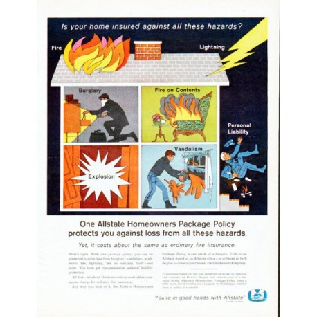 """1966 Allstate Insurance Ad """"Is your home insured"""""""