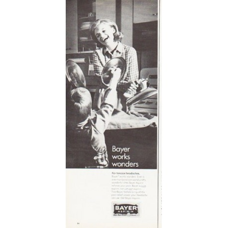 "1966 Bayer Aspirin Ad ""Bayer works wonders"""