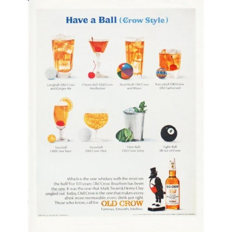 """1966 Old Crow Whiskey Ad """"Have a Ball"""""""