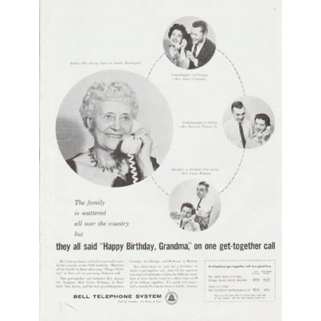 "1959 Bell Telephone System Ad ""Happy Birthday, Grandma"""