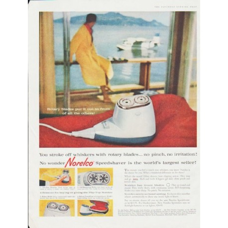 "1959 Norelco Shaver Ad ""stroke off whiskers"""