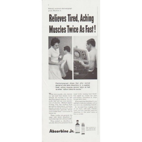 "1959 Absorbine Jr. Ad ""Twice As Fast"""
