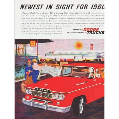 "1960 Dodge Trucks Ad ""Newest in sight"" ... (model year 1960)"