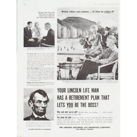 """1959 Lincoln National Life Insurance Ad """"Your Lincoln Life Man"""""""