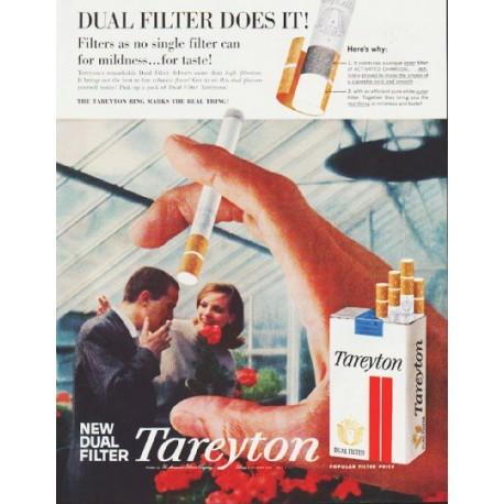 "1959 Tareyton Cigarettes Ad ""Dual Filter Does It"""