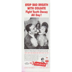 "1959 Colgate Toothpaste Ad ""Stop Bad Breath"""