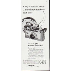 "1959 Argus Camera Ad ""Easy to set as a clock"""