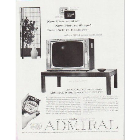 "1959 Admiral Television Ad ""New Picture Size"" ~ (model year 1960)"