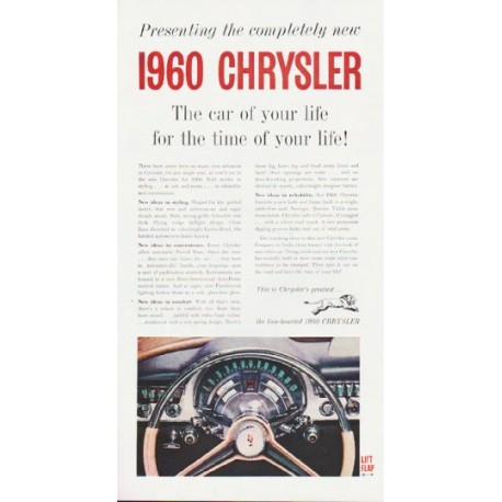 "1960 Chrysler Ad ""The car of your life"" ... (model year 1960)"