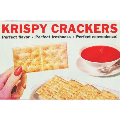 "1959 Sunshine Krispy Crackers Ad ""perfect for every occasion"""