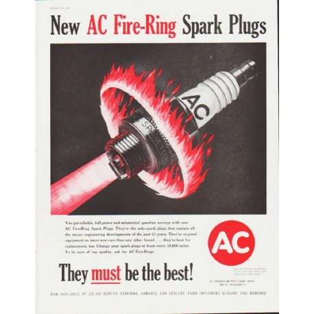 "1959 AC Spark Plugs Ad ""Fire-Ring Spark Plugs"""