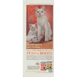 "1961 Puss 'n Boots Cat Food Ad ""Health, grace and beauty from daily feeding"""