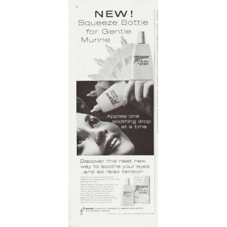 """1959 Murine Eye Drops Ad """"Squeeze Bottle"""""""