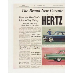 "1959 Hertz Rent a car Ad ""The Brand-New Corvair and the 1960 Chevrolet"""