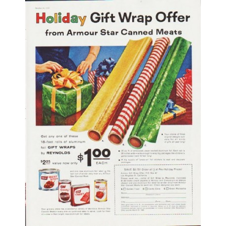 """1959 Armour Star Canned Meats Ad """"Gift Wrap Offer"""""""