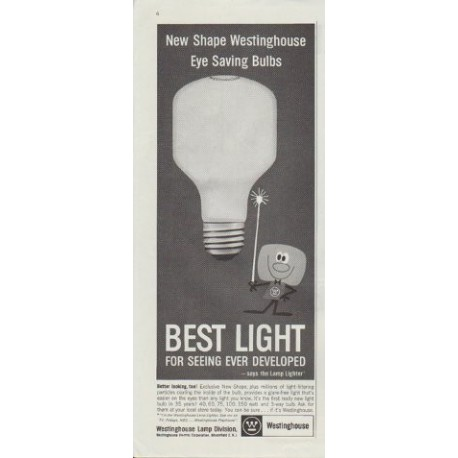 "1961 Westinghouse Ad ""New Shape Westinghouse Eye Saving Bulbs"""