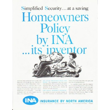 """1959 Insurance by North America Ad """"Simplified Security"""""""
