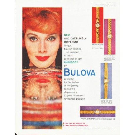 "1959 Bulova Watch Ad ""Dazzlingly Different"""