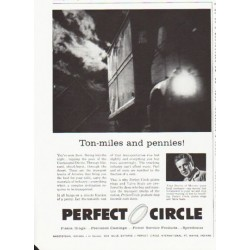 "1959 Perfect Circle Piston Rings Ad ""Ton-miles"""