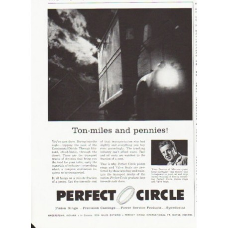 """1959 Perfect Circle Piston Rings Ad """"Ton-miles"""""""