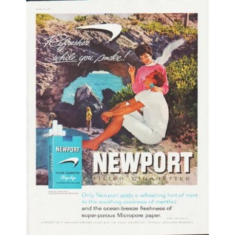 """1959 Newport Cigarettes Ad """"ocean-breeze freshness"""""""