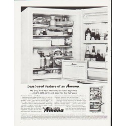 "1964 Amana Refrigerator Ad ""Least-used feature"""