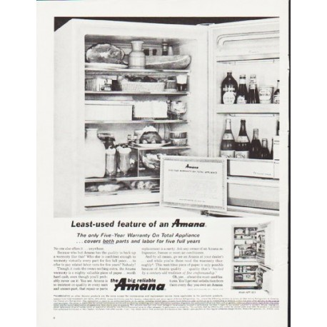 "1964 Amana Refrigerator Ad ""Least-used feature"""