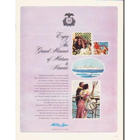 "1964 Matson Lines Ad ""Enjoy The Grand Manner"""